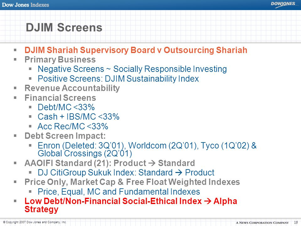© Copyright 2007 Dow Jones and Company, Inc. 15 DJIM Screens  DJIM Shariah Supervisory Board v Outsourcing Shariah  Primary Business  Negative Scre