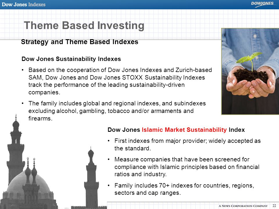 © Copyright 2007 Dow Jones and Company, Inc. 22 Strategy and Theme Based Indexes Dow Jones Islamic Market Sustainability Index First indexes from majo
