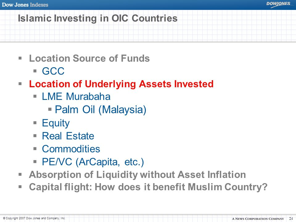 © Copyright 2007 Dow Jones and Company, Inc. 24 Islamic Investing in OIC Countries  Location Source of Funds  GCC  Location of Underlying Assets In