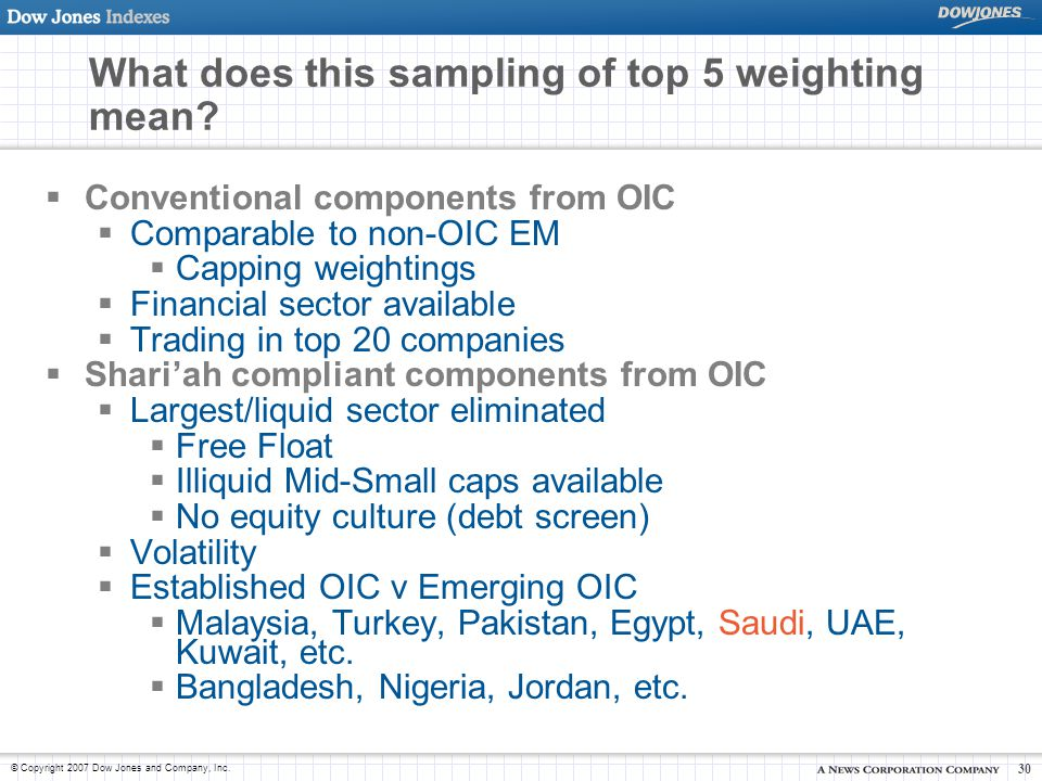 © Copyright 2007 Dow Jones and Company, Inc. 30 What does this sampling of top 5 weighting mean?  Conventional components from OIC  Comparable to no