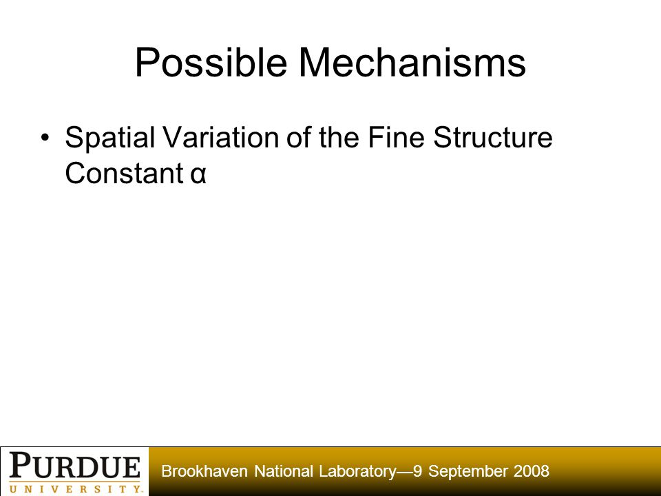 Brookhaven National Laboratory—9 September 2008 Possible Mechanisms Spatial Variation of the Fine Structure Constant α