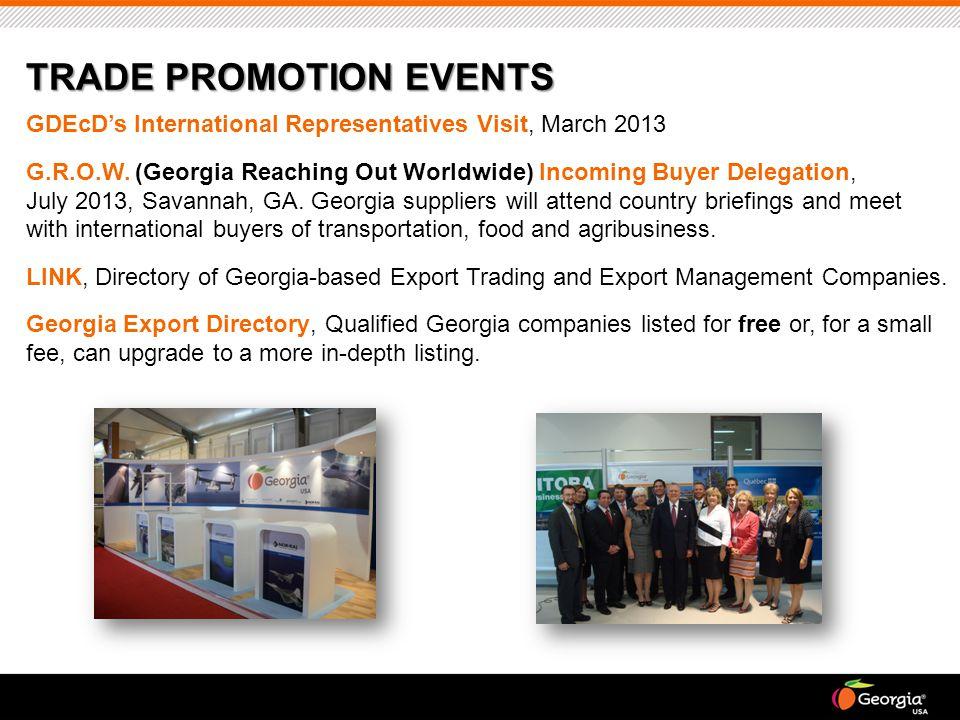 GDEcD's International Representatives Visit, March 2013 G.R.O.W. (Georgia Reaching Out Worldwide) Incoming Buyer Delegation, July 2013, Savannah, GA.