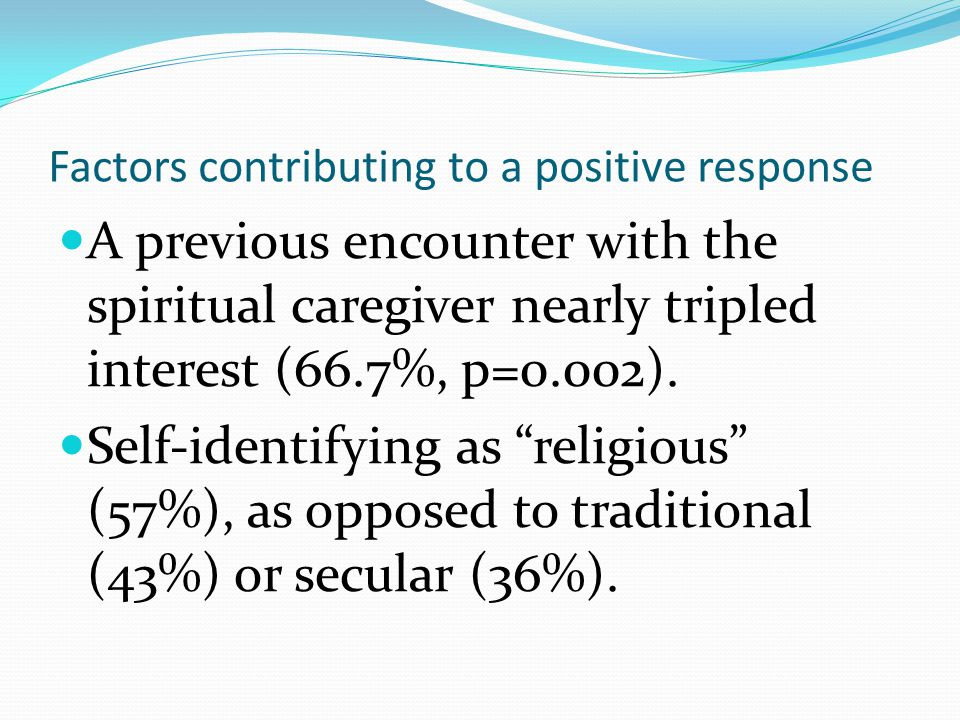 Factors contributing to a positive response A previous encounter with the spiritual caregiver nearly tripled interest (66.7%, p=0.002).