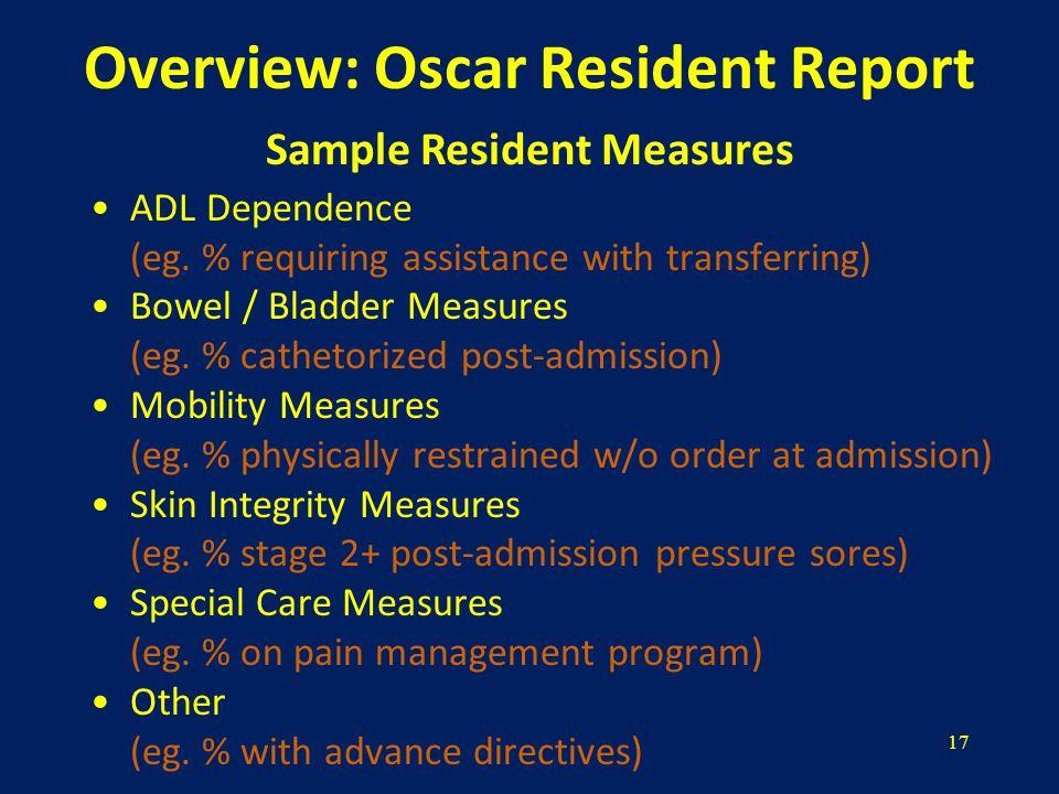 17 Overview: Oscar Resident Report ADL Dependence (eg.