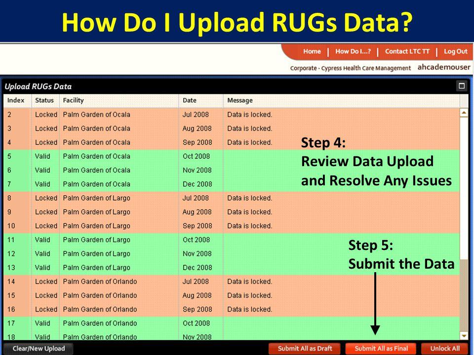 25 How Do I Upload RUGs Data.