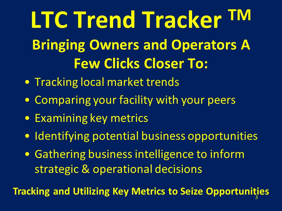 14 Overview of LTC Trend Tracker TM Reports Five Star Rating Report OSCAR Staffing Report OSCAR Resident Report OSCAR Survey Citation Report CMS Quality Measures Report CMS Cost Report Medicare Utilization Report NEW ENHANCED