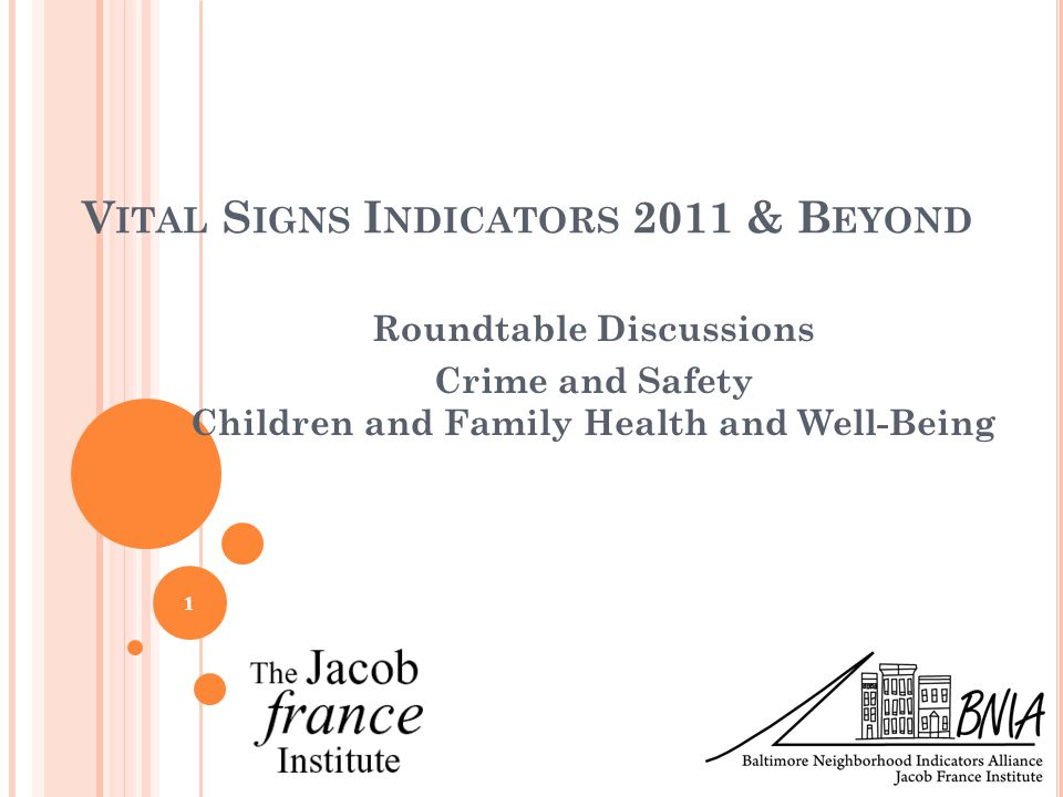 V ITAL S IGNS I NDICATORS 2011 & B EYOND Roundtable Discussions Crime and Safety Children and Family Health and Well-Being 1