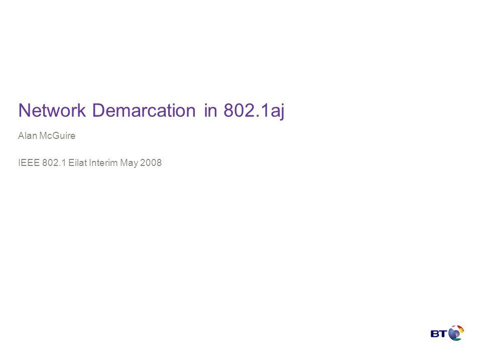 Network Demarcation in 802.1aj Alan McGuire IEEE 802.1 Eilat Interim May 2008