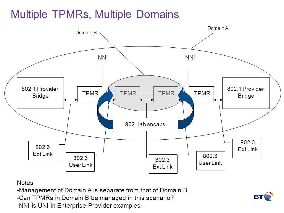 Multiple TPMRs, Multiple Domains TPMR 802.1 Provider Bridge 802.1 Provider Bridge 802.3 Ext Link 802.3 Ext Link NNI 802.3 User Link 802.3 User Link Domain A Domain B 802.3 Ext Link Notes -Management of Domain A is separate from that of Domain B -Can TPMRs in Domain B be managed in this scenario.