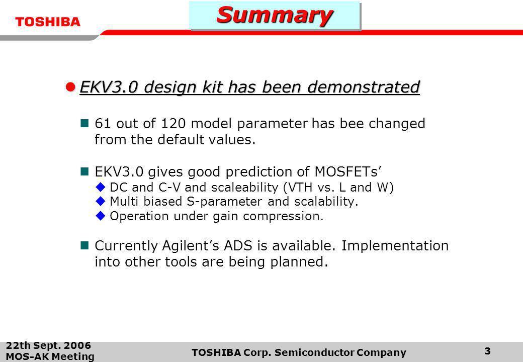 22th Sept. 2006 MOS-AK Meeting TOSHIBA Corp. Semiconductor Company 3 SummarySummary EKV3.0 design kit has been demonstrated EKV3.0 design kit has been