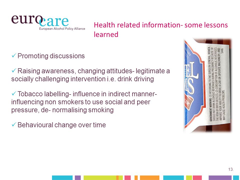 13. Health related information- some lessons learned Promoting discussions Raising awareness, changing attitudes- legitimate a socially challenging in