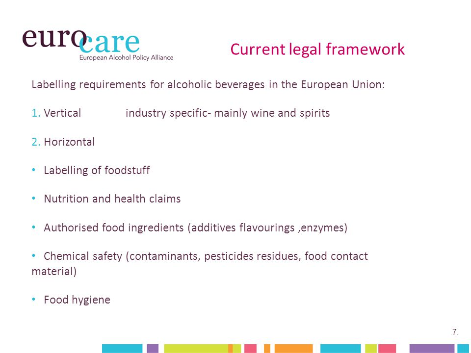 7. Current legal framework Labelling requirements for alcoholic beverages in the European Union: 1.Verticalindustry specific- mainly wine and spirits