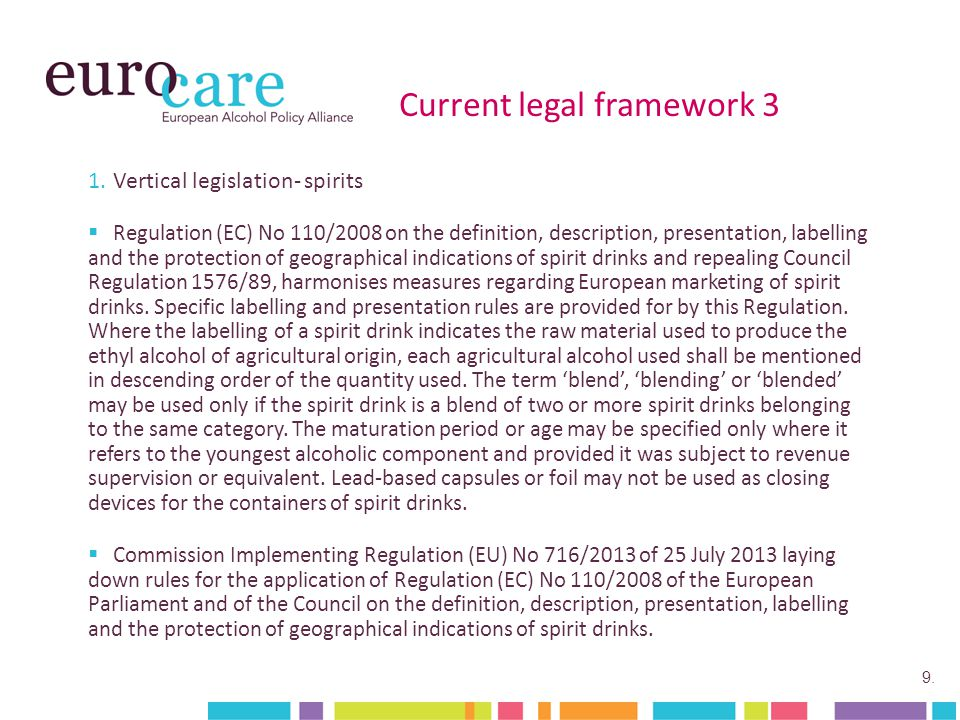 9. Current legal framework 3 1.Vertical legislation- spirits  Regulation (EC) No 110/2008 on the definition, description, presentation, labelling and