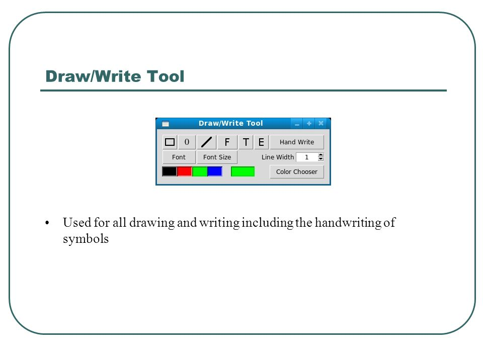 Draw/Write Tool Used for all drawing and writing including the handwriting of symbols