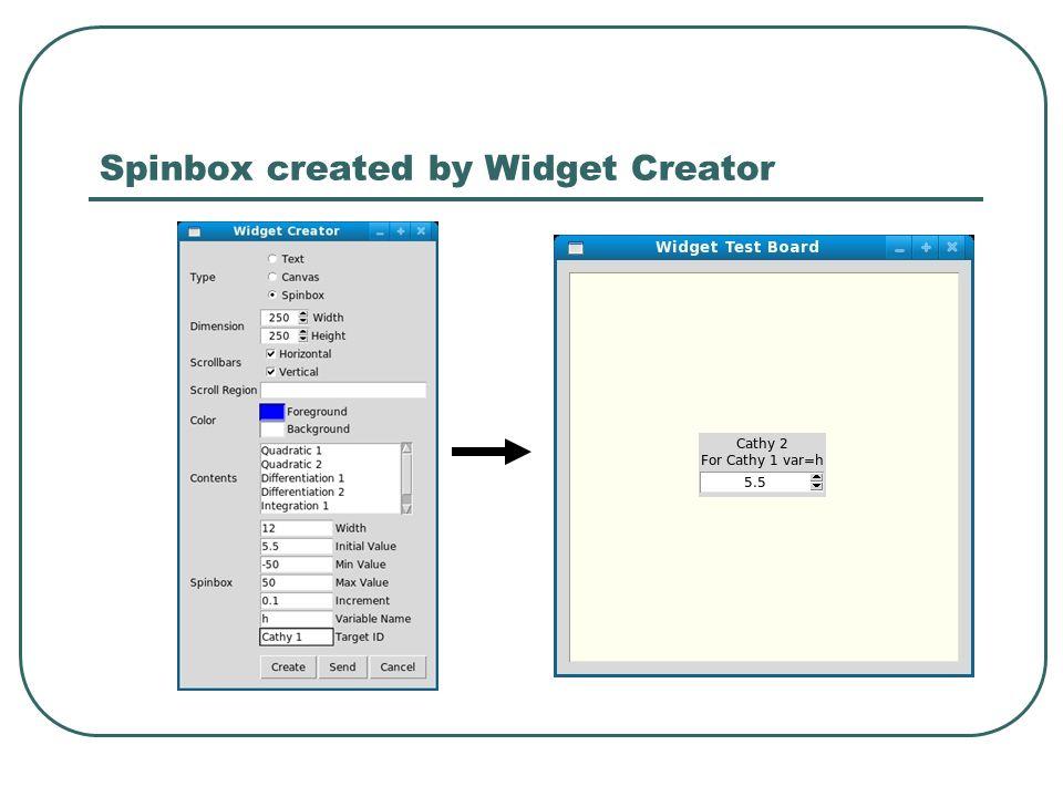 Spinbox created by Widget Creator