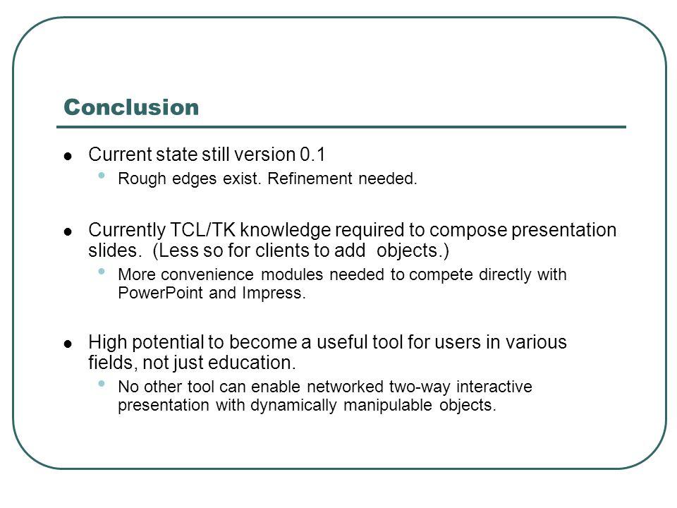 Conclusion Current state still version 0.1 Rough edges exist.