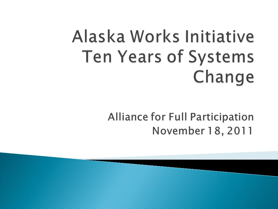 Alliance for Full Participation November 18, 2011