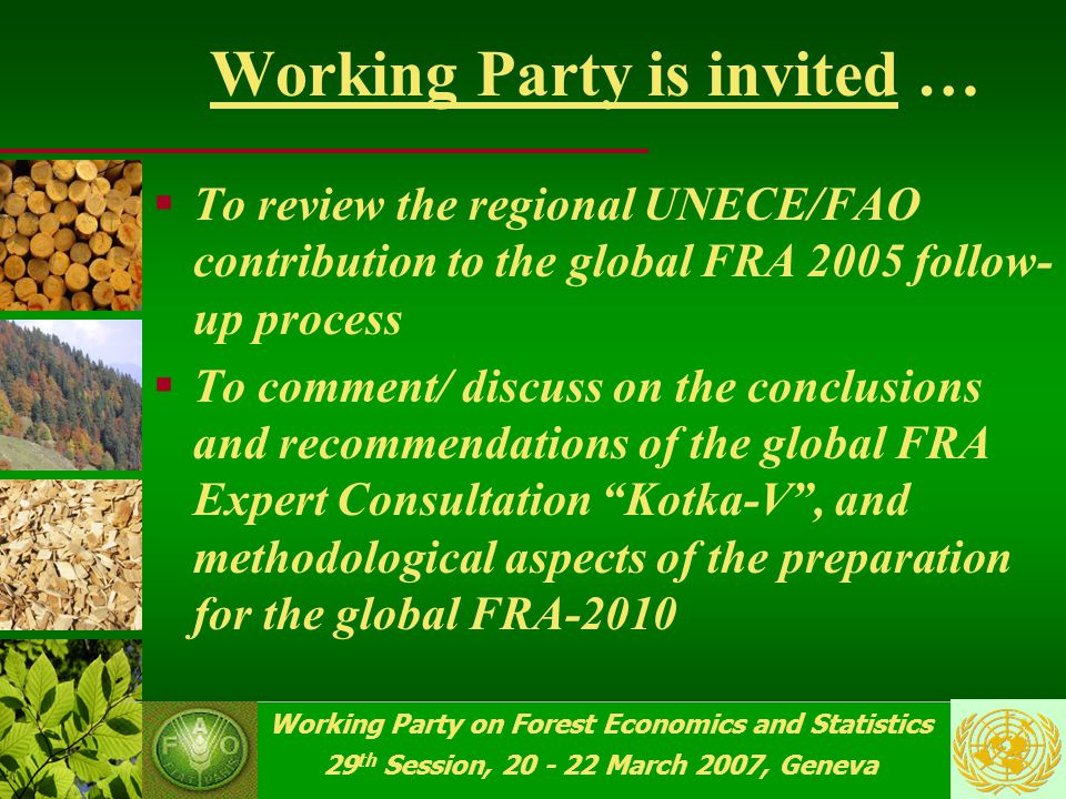 Working Party on Forest Economics and Statistics 29 th Session, 20 - 22 March 2007, Geneva Global FRA Advisory Group  Reviewed the outcome of the global FRA Expert Consultation Kotka-V ;  Provided proposals on issues related to the design and implementation ;  Country FRA 2010 Reporting Tables, T&D, other aspects from Kotka-V were discussed and commented specifically …  Target: to launch the FRA 2010 by end- 2007, in a transparent process…