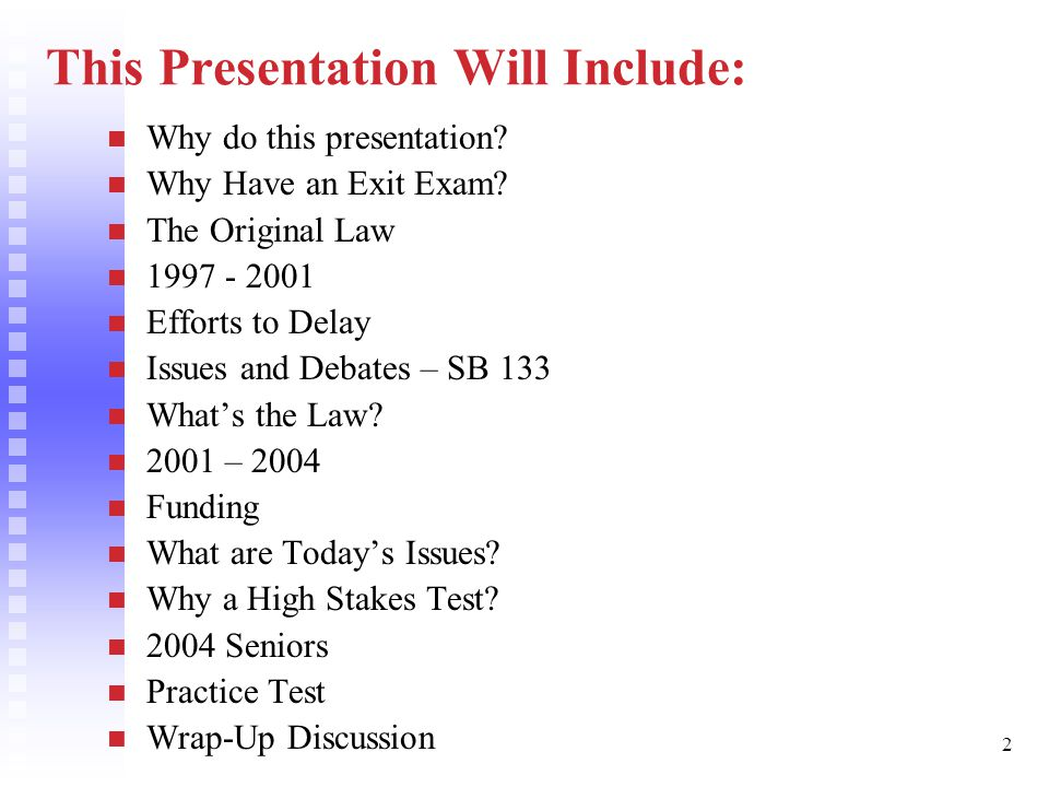 3 Why Do This Presentation? Seniors must pass this year. Law and regulations are somewhat complex.