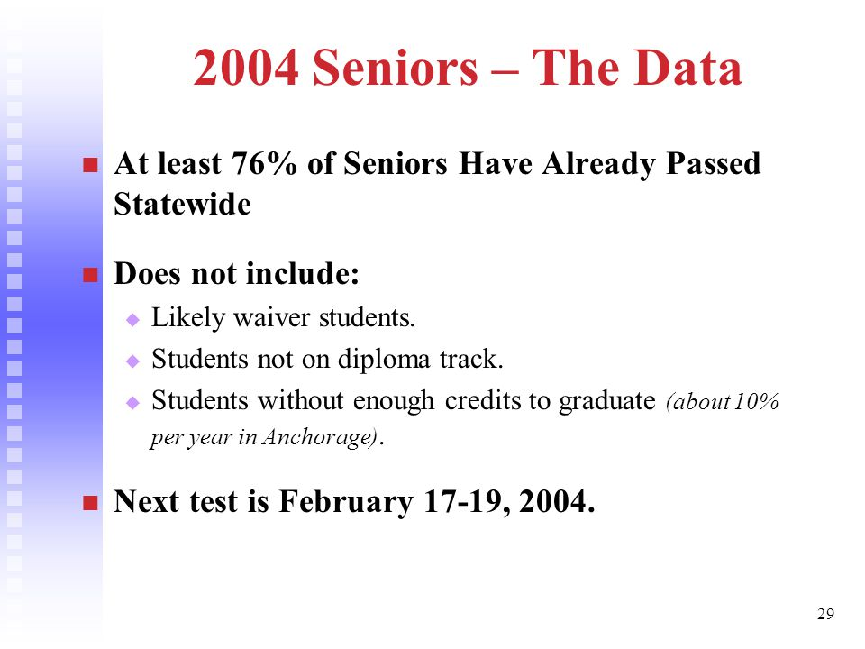 29 2004 Seniors – The Data At least 76% of Seniors Have Already Passed Statewide Does not include:   Likely waiver students.