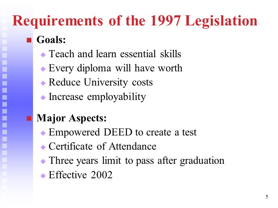 5 Requirements of the 1997 Legislation Goals:   Teach and learn essential skills   Every diploma will have worth   Reduce University costs   Increase employability Major Aspects:   Empowered DEED to create a test   Certificate of Attendance   Three years limit to pass after graduation   Effective 2002