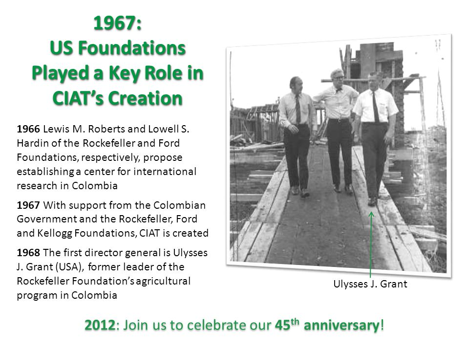 1967: US Foundations Played a Key Role in CIAT's Creation 1967: 1966 Lewis M.