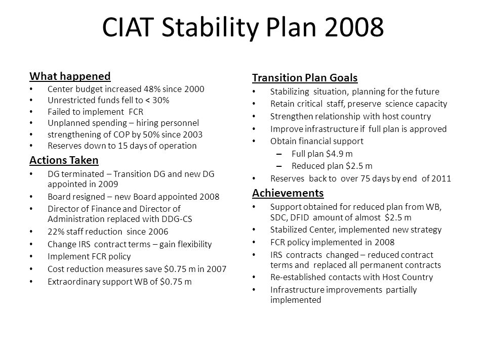 CIAT Stability Plan 2008 What happened Center budget increased 48% since 2000 Unrestricted funds fell to < 30% Failed to implement FCR Unplanned spend