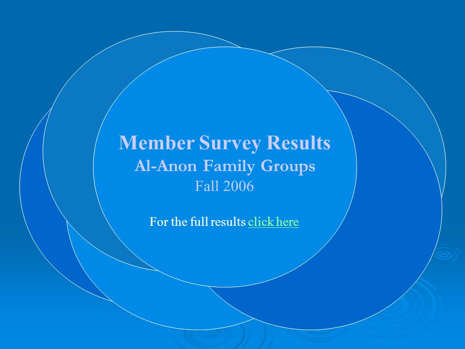 Member Survey Results Al-Anon Family Groups Member Survey Results Al-Anon Family Groups Fall 2006 For the full results click hereclick here
