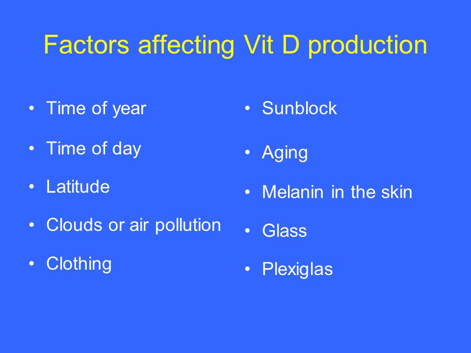 Factors affecting Vit D production Time of year Time of day Latitude Clouds or air pollution Clothing Sunblock Aging Melanin in the skin Glass Plexiglas