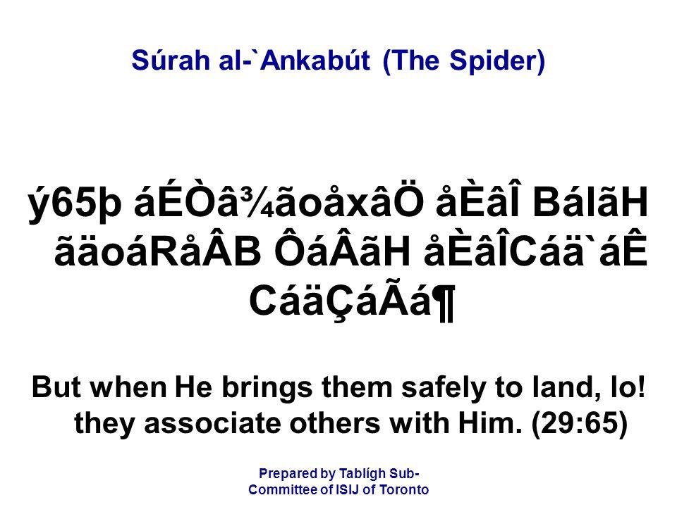 Prepared by Tablígh Sub- Committee of ISIJ of Toronto Súrah al-`Ankabút (The Spider) ý65þ áÉÒâ¾ãoåxâÖ åÈâÎ BálãH ãäoáRåÂB ÔáÂãH åÈâÎCáä`áÊ CáäÇáÃᶠBu