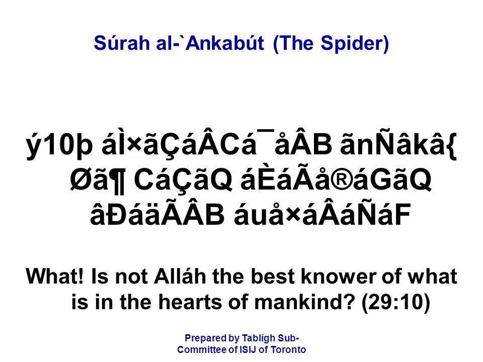 Prepared by Tablígh Sub- Committee of ISIJ of Toronto Súrah al-`Ankabút (The Spider) ý10þ áÌ×ãÇáÂCá¯åÂB ãnÑâkâ{ Ø㶠CáÇãQ áÈáÃå®áGãQ âÐáäÃÂB áuå×áÂáÑá