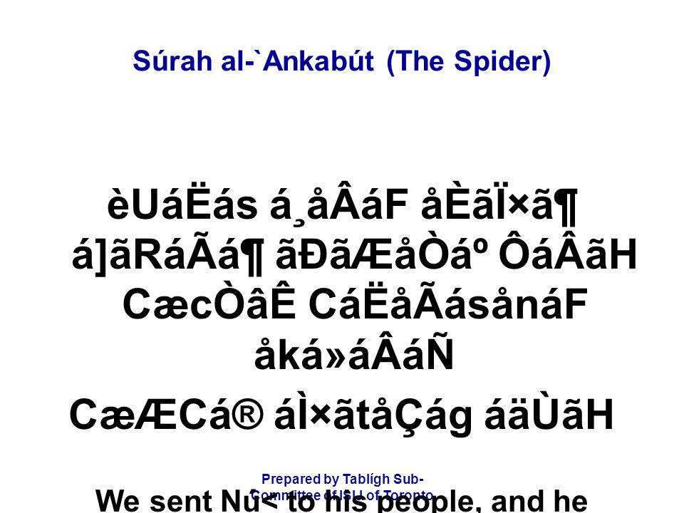 Prepared by Tablígh Sub- Committee of ISIJ of Toronto Súrah al-`Ankabút (The Spider) èUáËás á¸åÂáF åÈãÏ×㶠á]ãRáÃᶠãÐãÆåÒẠÔáÂãH CæcÒâÊ CáËåÃásånáF