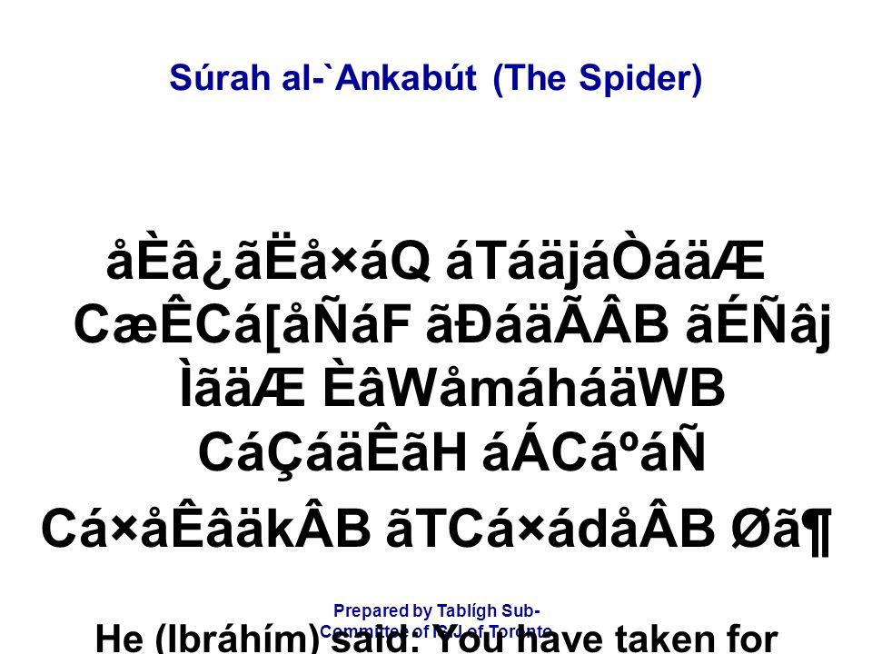 Prepared by Tablígh Sub- Committee of ISIJ of Toronto Súrah al-`Ankabút (The Spider) åÈâ¿ãËå×áQ áTáäjáÒáäÆ CæÊCá[åÑáF ãÐáäÃÂB ãÉÑâj ÌãäÆ ÈâWåmáháäWB C