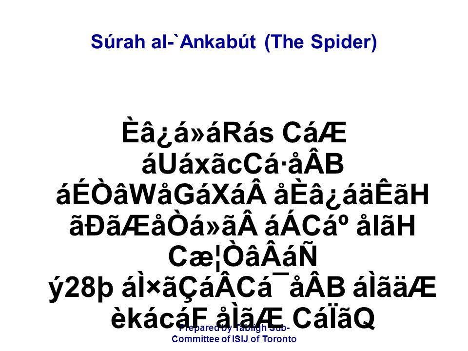 Prepared by Tablígh Sub- Committee of ISIJ of Toronto Súrah al-`Ankabút (The Spider) Èâ¿á»áRás CáÆ áUáxãcCá·åÂB áÉÒâWåGáXáåÈâ¿áäÊãH ãÐãÆåÒá»ãáÁCáº