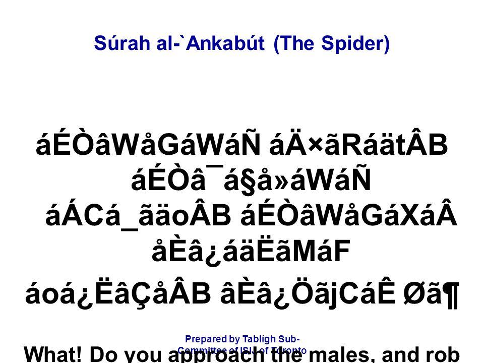 Prepared by Tablígh Sub- Committee of ISIJ of Toronto Súrah al-`Ankabút (The Spider) áÉÒâWåGáWáÑ áÄ×ãRáätÂB áÉÒâ¯á§å»áWáÑ áÁCá_ãäoÂB áÉÒâWåGáXáåÈâ¿á