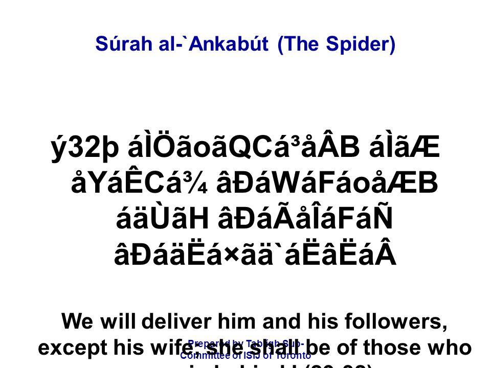 Prepared by Tablígh Sub- Committee of ISIJ of Toronto Súrah al-`Ankabút (The Spider) ý32þ áÌÖãoãQCá³åÂB áÌãÆ åYáÊCá¾ âÐáWáFáoåÆB áäÙãH âÐáÃåÎáFáÑ âÐáä