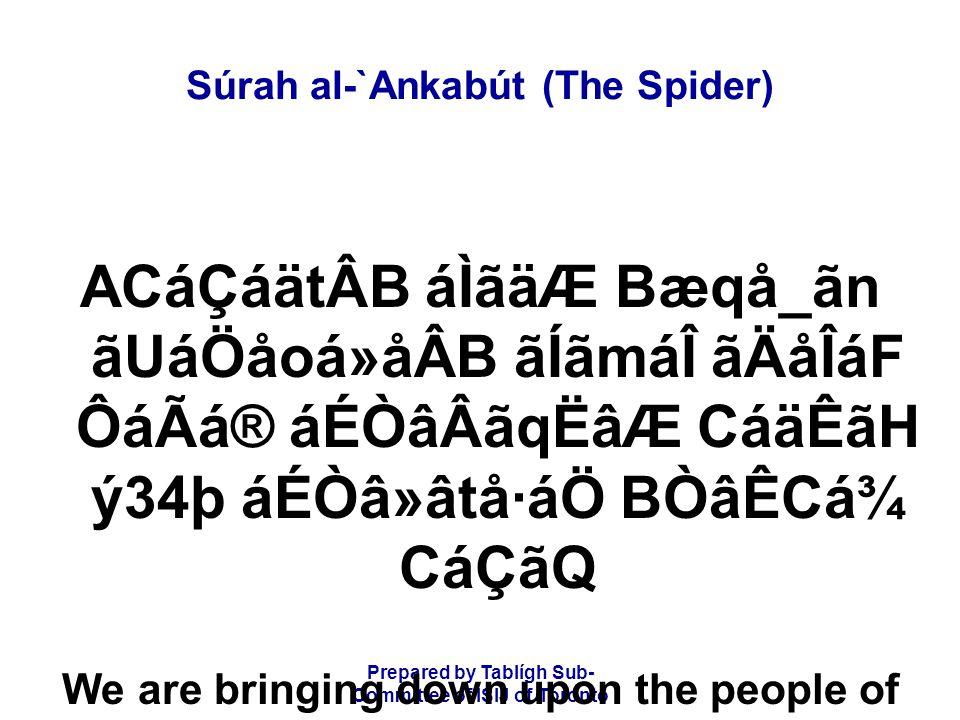 Prepared by Tablígh Sub- Committee of ISIJ of Toronto Súrah al-`Ankabút (The Spider) ACáÇáätÂB áÌãäÆ Bæqå_ãn ãUáÖåoá»åÂB ãÍãmáÎ ãÄåÎáF ÔáÃá® áÉÒâÂãqËâ