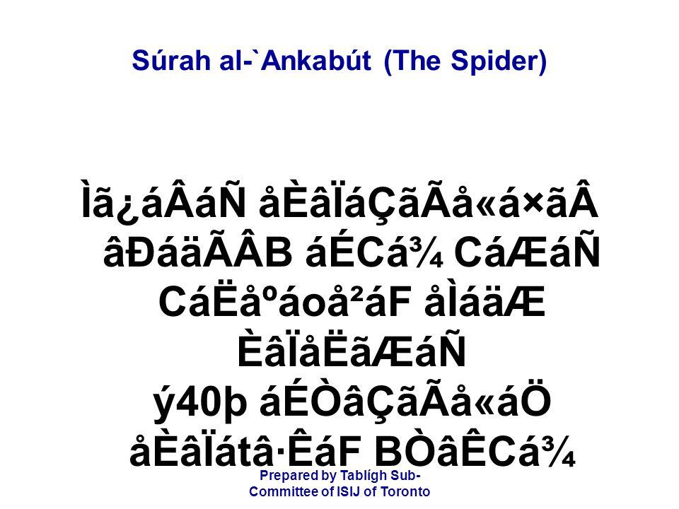 Prepared by Tablígh Sub- Committee of ISIJ of Toronto Súrah al-`Ankabút (The Spider) Ìã¿áÂáÑ åÈâÏáÇãÃå«á×ãâÐáäÃÂB áÉCá¾ CáÆáÑ CáËåºáoå²áF åÌáäÆ ÈâÏå