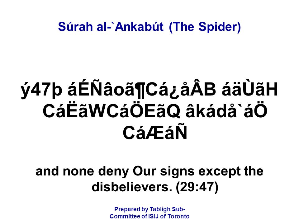 Prepared by Tablígh Sub- Committee of ISIJ of Toronto Súrah al-`Ankabút (The Spider) ý47þ áÉÑâoã¶Cá¿åÂB áäÙãH CáËãWCáÖEãQ âkádå`áÖ CáÆáÑ and none deny Our signs except the disbelievers.