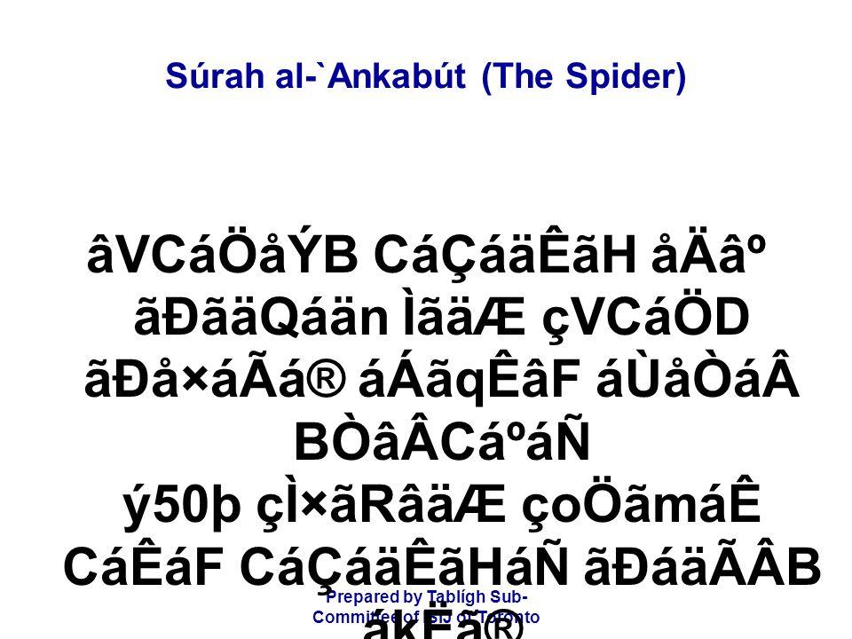 Prepared by Tablígh Sub- Committee of ISIJ of Toronto Súrah al-`Ankabút (The Spider) âVCáÖåÝB CáÇáäÊãH åÄ⺠ãÐãäQáän ÌãäÆ çVCáÖD ãÐå×áÃá® áÁãqÊâF áÙåÒ