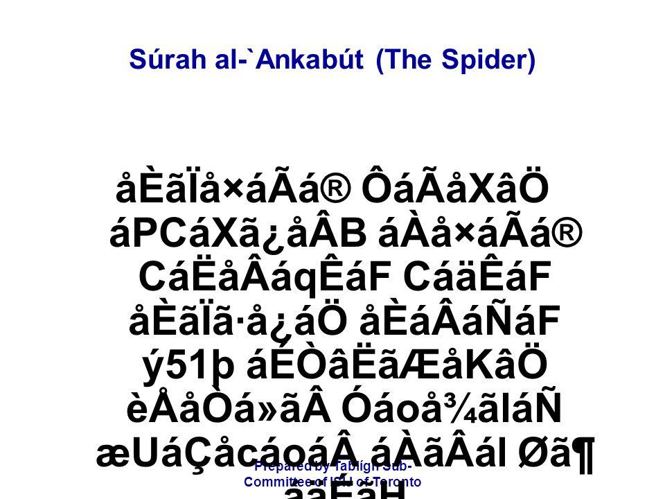 Prepared by Tablígh Sub- Committee of ISIJ of Toronto Súrah al-`Ankabút (The Spider) åÈãÏå×áÃá® ÔáÃåXâÖ áPCáXã¿åÂB áÀå×áÃá® CáËåÂáqÊáF CáäÊáF åÈãÏã·å¿