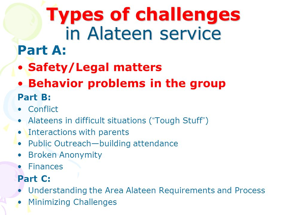 Safety/legal issues Matters of physical safety are not negotiable, and not up to the group.
