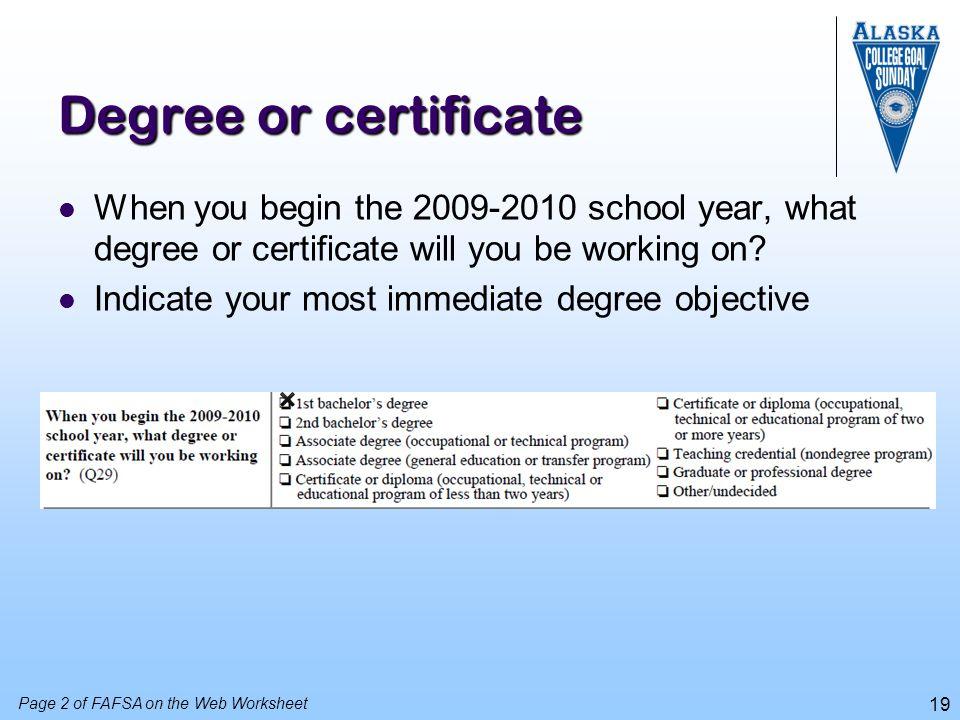 20 Enrollment status When you begin the 2009-2010 school year, what do you expect your enrollment status to be.