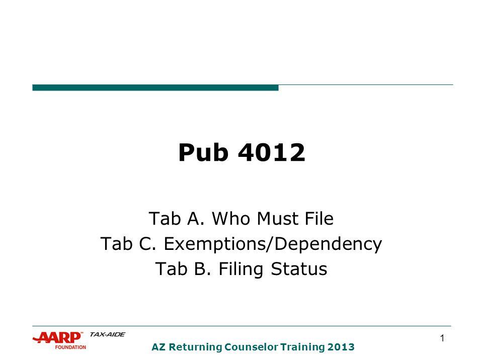 1 AZ Returning Counselor Training 2013 Pub 4012 Tab A.