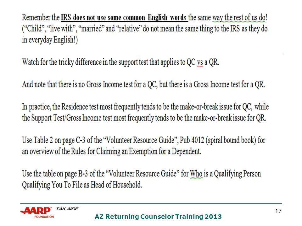 17 AZ Returning Counselor Training 2013
