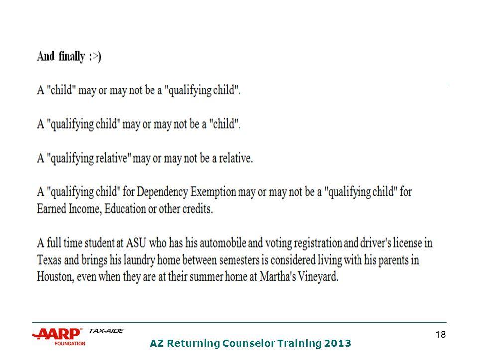 18 AZ Returning Counselor Training 2013