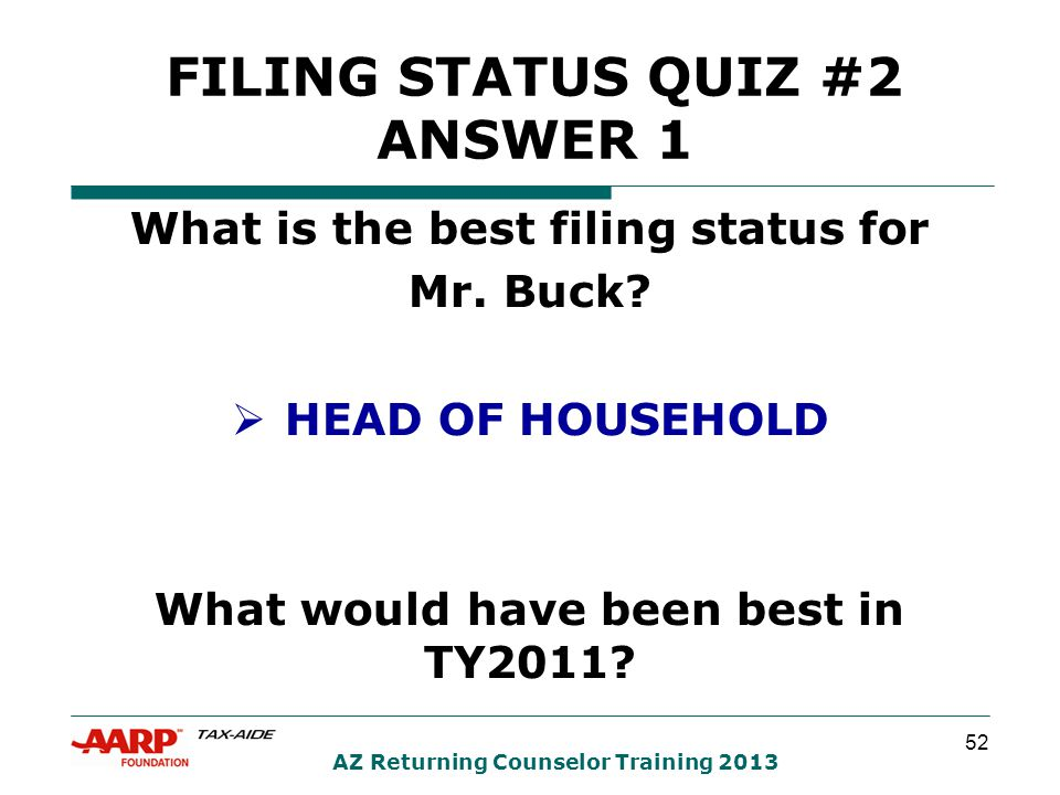 52 AZ Returning Counselor Training 2013 What is the best filing status for Mr.