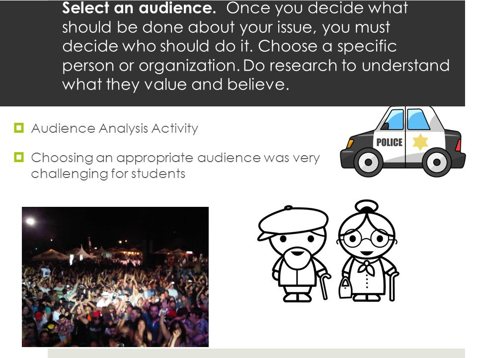  Audience Analysis Activity  Choosing an appropriate audience was very challenging for students Select an audience.