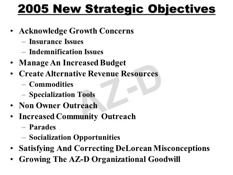 AZ-D 2005 New Strategic Objectives Acknowledge Growth Concerns –Insurance Issues –Indemnification Issues Manage An Increased Budget Create Alternative Revenue Resources –Commodities –Specialization Tools Non Owner Outreach Increased Community Outreach –Parades –Socialization Opportunities Satisfying And Correcting DeLorean Misconceptions Growing The AZ-D Organizational Goodwill