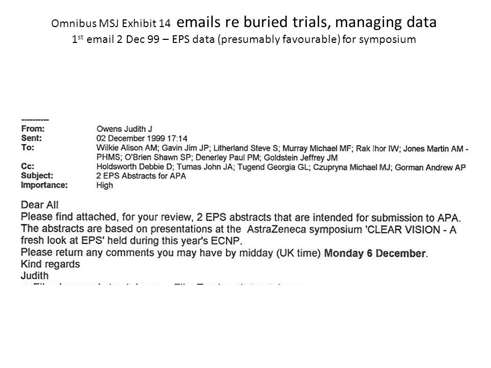 Omnibus MSJ Exhibit 14 emails re buried trials, managing data 1 st email 2 Dec 99 – EPS data (presumably favourable) for symposium